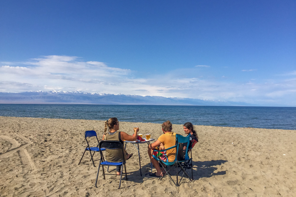 Beach camping Issyk-Kul Lake