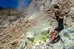 Miriam sniffing some sulfur