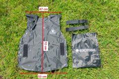 Dimensions of uninflated Exotogg vest regular/regular