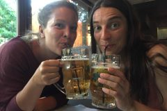 Kazakh girls drink beer with straws
