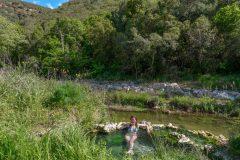 Miri enjoying the hot spring