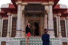 Miri and Raju at a temple