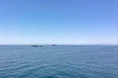 Oil rigs in front of Baku